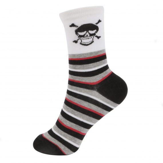 Boys Skull Stripe 2 Pack Ankle Stripe Socks