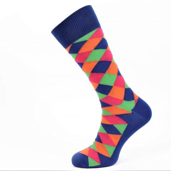 Mens Blue Suits Socks Harlequin Design