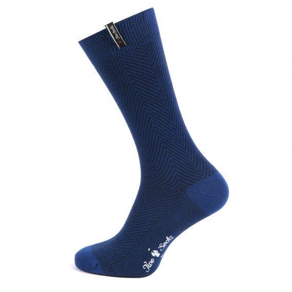Mens Bamboo Cotton Suit Socks Navy Zig Zag Design
