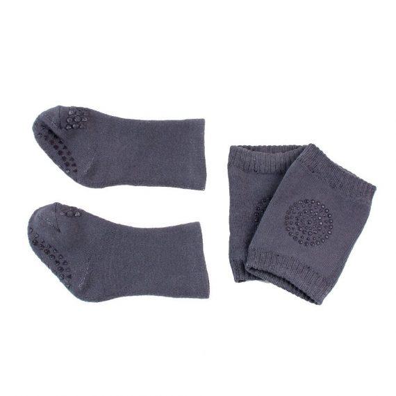 Baby Gripper Socks and Knee Pads Dark Grey