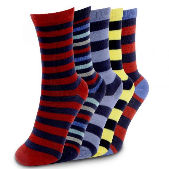 Boys Striped 5 Pack Socks