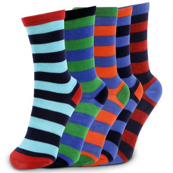 Boys 5 Pack Stripe Ankle Socks