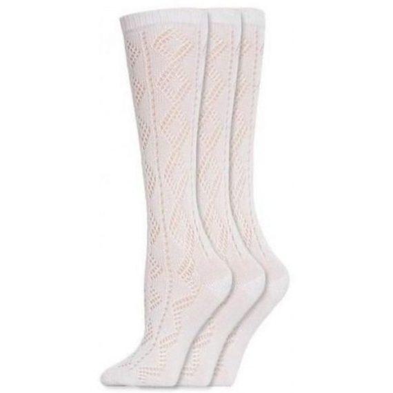 Girls White Pelerine School 3 Pack Socks