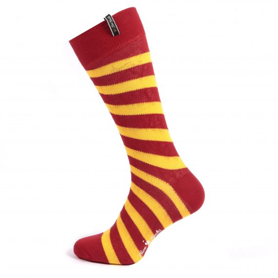 Red and yellow diagonal stripe design