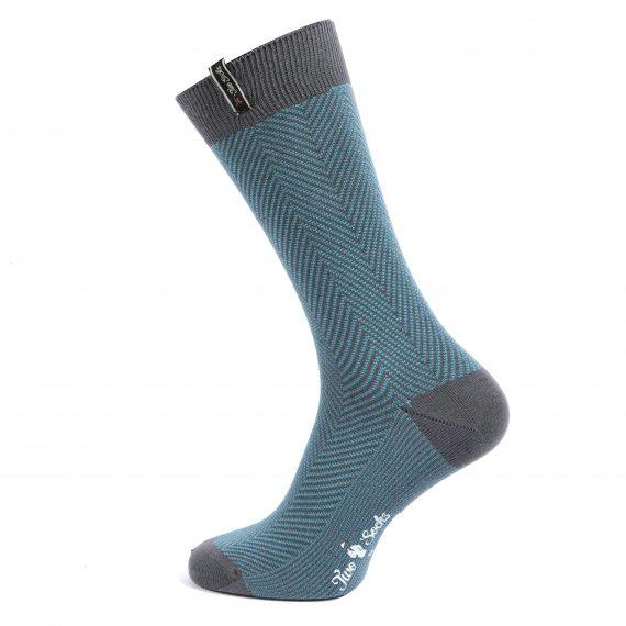 Mens Bamboo Cotton Suit Socks Grey Zig Zag Design